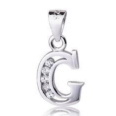 """Sterling Silver Cubic Zirconia Initial Letter G Pendant Necklace 18"""" 