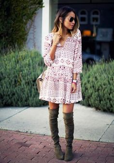 Julie of Sincerely, Jules proves that flirty and flowy mini dresses are always chic, especially when paired with tall boots or booties.