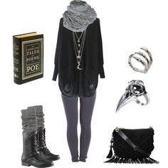 Dark mori - polyvore | black cardigan sweater + grey leggings + boots | fall winter style