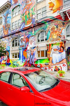 San Francisco Girls, San Francisco California, San Francisco Architecture, Mission District, Rainy Night, Amazing Street Art, San Fransisco, Colorful Paintings, Continents