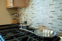 Stone and Glass Kitchen Backsplash