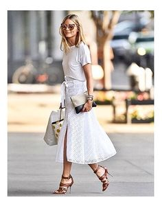 Spring my white skirt and casual t