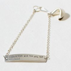 sterling silver fortune cookie bracelet - be mischievous and you will not be lonesome - fortune message. $68.00, via Etsy.
