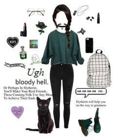 """""""Slytherin aesthetic"""" by myintrovertedself ❤ liked on Polyvore featuring River Island, Casetify, Lipstick Queen, Topshop, NARS Cosmetics, Dr. Martens and Polaroid"""