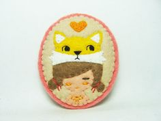 A girl with a yellow fox hat felt brooch by hanaletters on Etsy
