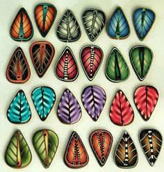 Set of 24 Polymer Clay Leaf Beads  12 Matching Sets by ikandiclay,