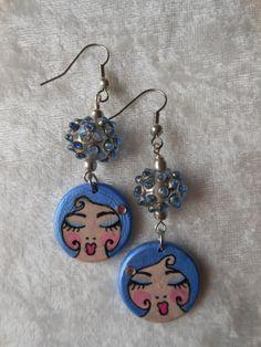 Nina Earrings Hand Painted Wood Earrings by AimlesslyWandering, $25.00