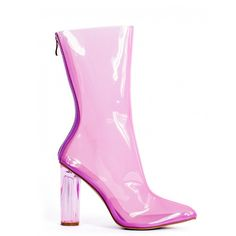 WILD STYLE PINK PERSPEX HEEL ANKLE BOOTS ($54) ❤ liked on Polyvore featuring shoes, boots, ankle booties, transparent boots, pink booties, bootie boots, ankle boots and high heel booties