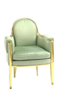 Jacques-Emile Ruhlmann ARMCHAIR branded Ruhlmann gilt wood, brass and silk upholstery 35 1/2 in. (90.2 cm) high ca. 1925