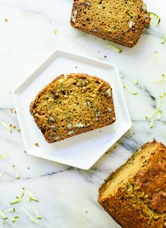 Fluffy and healthy zucchini bread! No refined flours or sugars here. cookieandkate.com