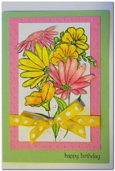 This is my first card using In Full Bloom. I bought it used on eBay (actually, the set look brand new). I ended up with a look totally 180 degrees from what I started with, but I had fun prismacoloring the flowers and afterward cut each one out individually. The background is done with Cuttlebug's Polka Dot embossing folder. tfl