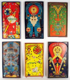 """Antique pinball games. Aprox. 22-24"""" tall and date from the 1920's-30's."""