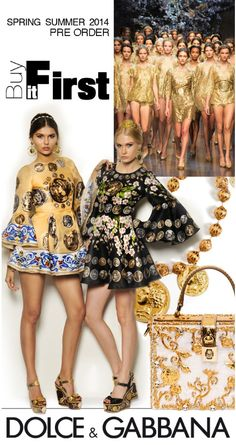 With its timeless Greek beauty and blossoming orchards, Dolce & Gabbana SS2014 artfully blends the ethereal charm of Sicily's past, present and future. Pre-order today to guarantee that these standout pieces will make it to your closet! #buyitfirst