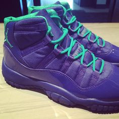 First look at the heart-stopping new Air Jordan 11 Hornets. The iconic Cordura mesh-and-patent upper goes solid purple, with teal accents on the . Jordan 11, Jordan Model, Jordan Shoes, Nike Basketball, Baskets, Air Jordan Retro, Adidas Shoes Outlet, Site Nike, Latest Sneakers