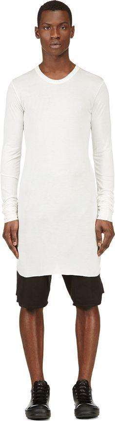 Rick Owens - Ivory Overlong Jersey T-Shirt  ced9087606c