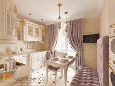 Фото дизайн кухни из проекта «Дизайн однокомнатной квартиры 48 кв.м. в классическом стиле, ЖК «Жемчужный фрегат» »
