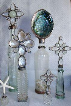 Seashells and vintage bottles
