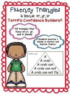 Fluency Triangles for R Blends Cr, Gr, and Tr Reading Fluency Activities, English Sentences, Preschool Special Education, Struggling Readers, Reading Intervention, School Psychology, Learning Disabilities, Sight Words, Social Skills