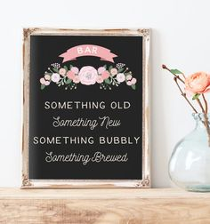 Rustic Wedding Bar Table Sign Printable -  Something Old, Something New, Something Bubbly, Something Brewed - The Cady Sign Set