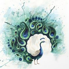 Love this water color idea but instead of a peacock I would do a pheonix