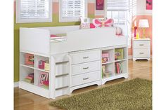 White Lulu Twin Loft Bed with Storage and Bookcase View 1