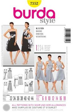 Multiway dress using a Burda pattern. BMs can have same colour, same fabric but choose how they wear their dress