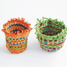 Taking It Further - Woven baskets made from old T-shirt sleeves (goes along wtih woven rug)