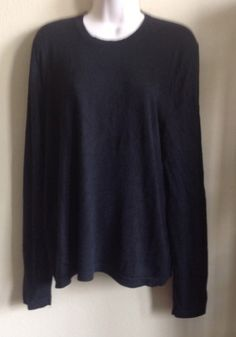 BANANA REPUBLIC Sweater 100% Silk Cashmere Crew Neck Long Sleeve Black SZ MEDIUM- love this sweater- looks so comfy