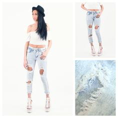 Todays Fashion Fix: Acid Wash Ripped Skinny Jeans. Love Clothing, Ripped Skinny Jeans, Capri Pants, Clothes, Fashion, Outfits, Moda, Capri Trousers, Clothing