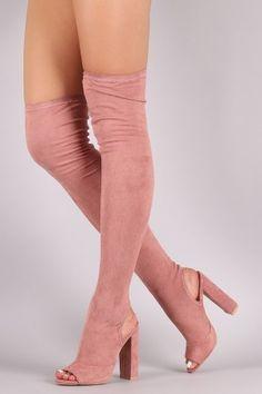 Suede Fitted OTK Cutaway Heel Peep Toe Boots
