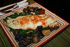 Crab Stuffed Flounder with Roasted Potatoes and Spinach | Vegan and Pescetarian Cooking