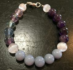 Air Element Bracelet (Selenite, Rainbow Fluorite, Amethyst, and Angelite)