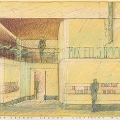Today's #FridaySketch by #LuigiRosselli is a nod to yesterday's #TBT post and features the ground floor retail space detail of 107 Pitt Street #Sydney. When Luigi drew his design he imagined a revival a of a #BookShop that was once there, a place to feed the mind, today you can feed yourself more literally with a visit to #CelebrityChef @JamieOliver's #JamiesItalian restaurant, which now occupies the space. #LuigiRosselliArchitects #InstaArchitecture @Arch_More #FBF