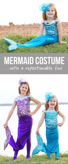with a REPOSITIONABLE Fin! A great costume that you can walk around in but can also transition into a more realistic mermaid! Girls Mermaid Costume, Mermaid Tail Costume, Mermaid Halloween Costumes, Girls Mermaid Tail, Ariel Costumes, Mermaid Kids, Dress Up Costumes, Diy Halloween Costumes, Woman Costumes