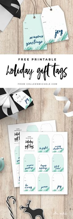 FREE Christmas gift tags printable! 8 different gift tags feature watercolor pines in green and soft blue, with watercolor calligraphy greetings like, 'Joy', 'Peace', 'Merry Christmas', 'Let it Snow!', 'Be Joyful' and 'Happy Holidays'. Click through to get your free printable download!
