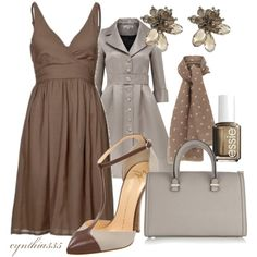 """Little Brown Dress"" by cynthia335 on Polyvore"