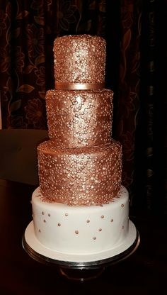 Rose Gold Sequin Wedding Cake Wedding Favours, Wedding Cakes, Chocolate Stout, Sequin Wedding, Fondant Icing, Marzipan, Favors, Rose Gold, Touch
