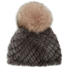 Jocelyn Hollywood Fur Pom-Pom Hat ($150) ❤ liked on Polyvore featuring accessories, hats, grey beanie hat, grey beanie, fur pom pom beanie, pom pom hat and fur hat
