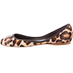 Pre-owned Céline Ponyhair Flats found on Polyvore featuring shoes, flats, animal print, ballet flat shoes, animal print flats, leopard shoes, calf hair flats and ballet shoes