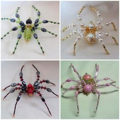DIY Beaded Spiders. Great Tutorial on how to make these insects. People have suggested wearing them in your hair, brooches etc... (would be great for Halloween too)