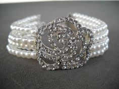 #GlassPearl #Pearl & #Rhinestone #Rose #Bracelet, Great for the #Bride NWT