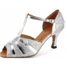 Latin/Salsa Dance Shoes Customized Women's Leatherette Sparkling Silver Color Ballroom Shoes - USD $29.99 ! HOT Product! A hot product at an incredible low price is now on sale! Come check it out along with other items like this. Get great discounts, earn Rewards and much more each time you shop with us!