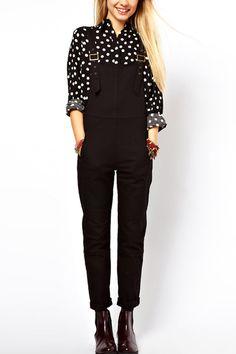 Fashion+Black+Buckle+Straps+Overalls+#Fashion+#Overalls+#maykool