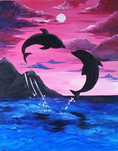 We host painting events at local bars. Come joi… – Paint… Paint Nite. We host painting events at local bars. Come joi… – Painting Acrylic – Cute Canvas Paintings, Canvas Painting Tutorials, Easy Canvas Painting, Painting & Drawing, Canvas Art, Dolphin Painting, Dolphin Art, Oil Pastel Art, Silhouette Painting