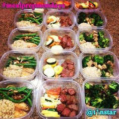It's Meal Prep Monday!! Here's my menu for the week:1⃣ Baked tilapia with brown rice and sautéed green beans, 2⃣ Flank steak with baked zucchini, yellow squash and sweet potato rounds, and 3⃣ Broccoli and tofu stir fry with brown rice.