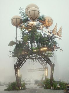 "rubberbaby-buggybumpers:    The world-famous French group of artists ""La Machine"" installed this steampunk sculpture masterpiece in Dessau, Germany. Appropriately mysterious in the fog, this beautiful machine seems almost ready to launch."