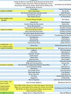 Music Playlist and Timeline for Sock Hop School Dance