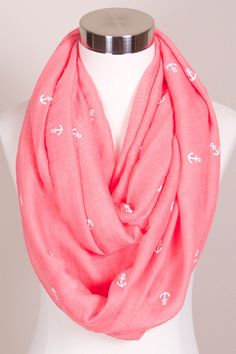 Coral Anchor Infinity Scarf $18 FREE SHIPPING http://SimplyMeBoutique.com/ https://www.facebook.com/groups/SimplyMeBoutique/ #scarf #infinity #cowl #anchor #coral #SMB #SimplyMe