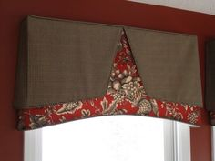 This is a fun way to combine two fabrics but still have a tailored valance. Drapes And Blinds, Drapes Curtains, Drapery Designs, Pelmets, Window Coverings, Window Valances, Custom Window Treatments, Custom Windows, Window Dressings