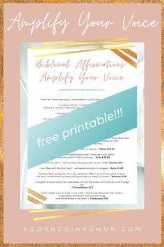 Biblical Affirmations Free Printable To Amplify Your Voice & Speak with Confidence | I pray these biblical affirmations about the power of your voice help you in to use your voice for God's glory!   IDENTITY IN CHRIST | Scripture Meditation ♥️ Empower yourself to speak up and use your voice the way God intended with these scripture-based meditations! YOUR VOICE MATTERS, SIS. Use these bible verses and scripture-based meditations as often as you need!